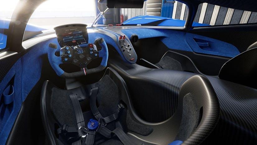 Innenraum aus Fahrerperspektive. Der Bugatti Bolide mit viel Carbon, Sportsitzen, Renn-Lenkrad in den VEHICULUM News