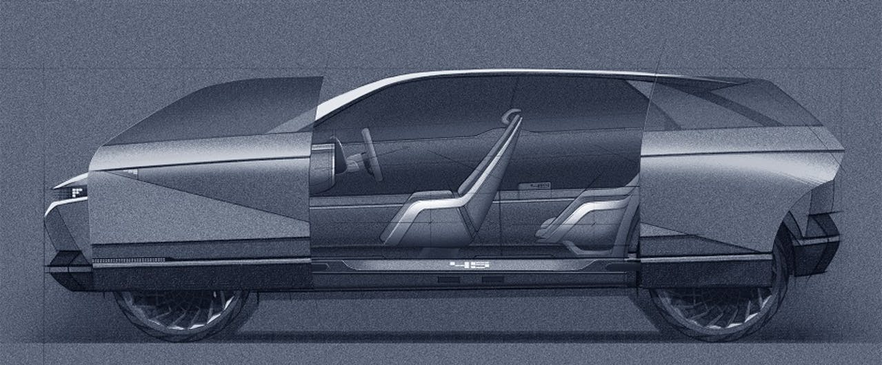 Hyundai Konzept 45 futuristische Türen Skizze