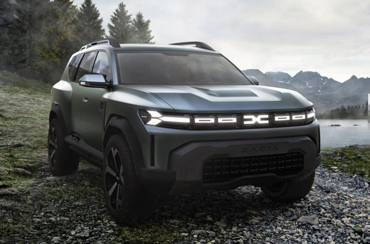 Dacia Bigster Frontansicht mit Scheinwerfern