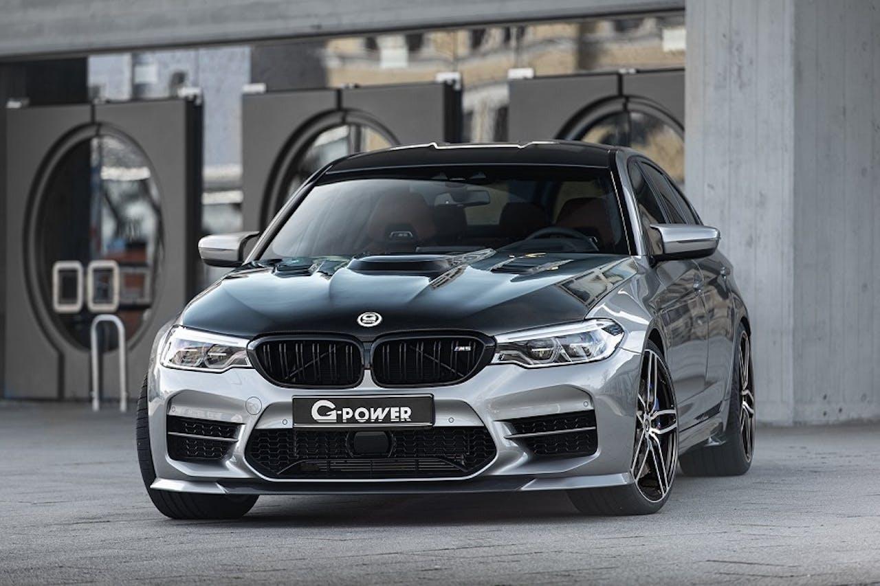 BMW M5 G-Power Tuning in grau mit schwarzer Motorhaube und schwarzem Dach