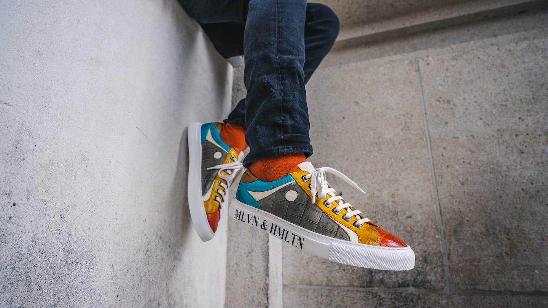 Men's colourful leather sneakers Melvin & Hamilton