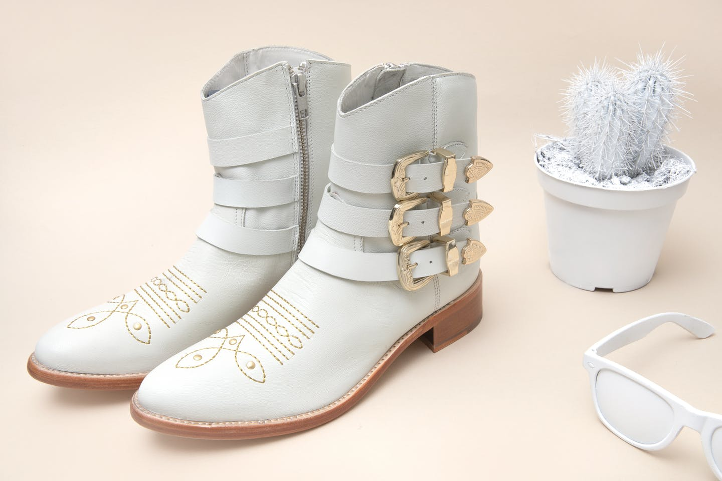 white shoes, white sandals, white ankle boots