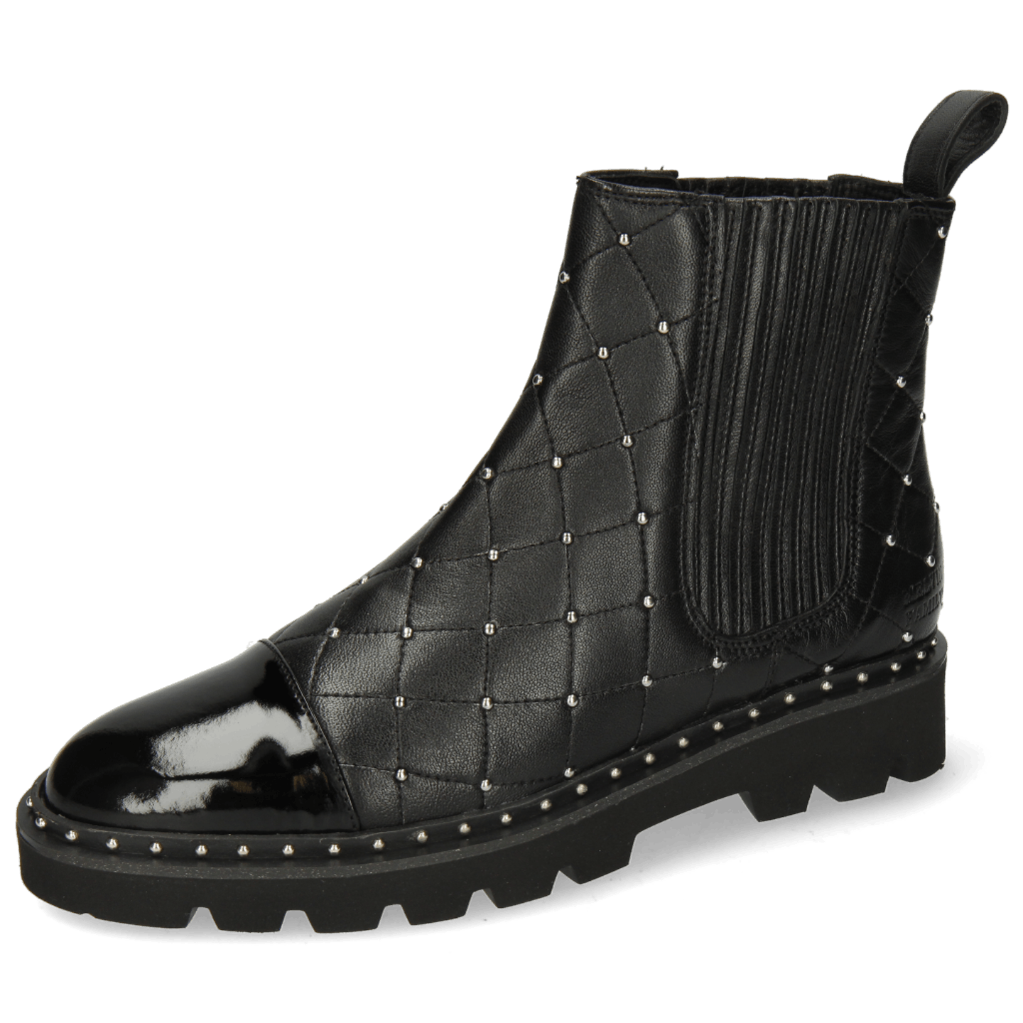 Susan 46 Patent French Nappa Black Rivets