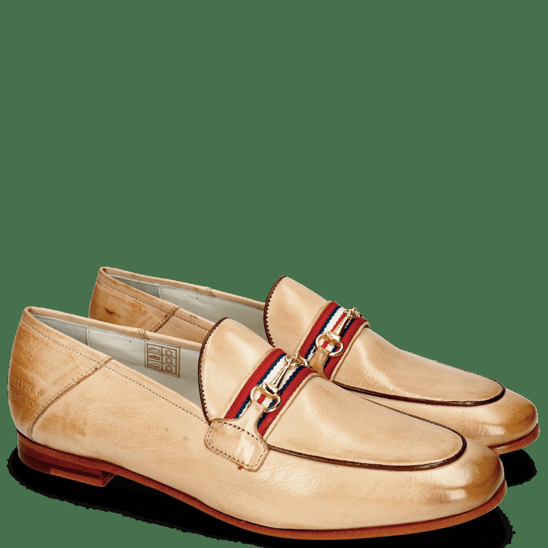 Scarlett 45 Glove Nappa Ivory Binding Tan Trim Gold