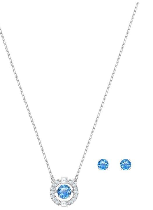 Belle parure au design contemporain, elle combine une paire de clous d'oreilles au cristal bleu et rond et un collier au métal argenté agrémenté par un cristal mobile à l'intérieur. Un assortiment élégant que vous pouvez porter ensemble ou séparemment.