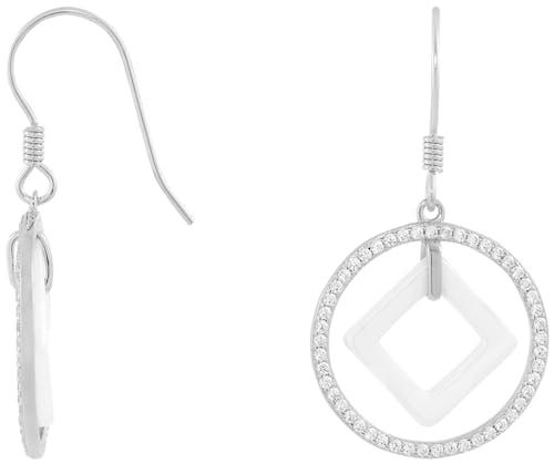 Ces Boucles d'oreilles Pendantes CLEOR sont en Céramique Blanche et Argent 925/1000