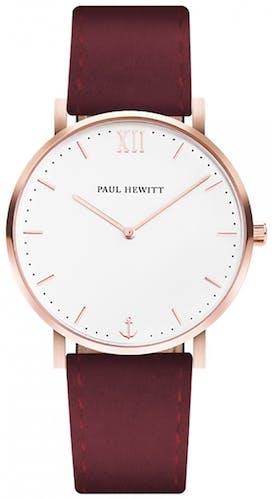 Cette montre PAUL HEWITT se compose d'un Boîtier Rond de 39 mm et d'un bracelet en Cuir Rouge