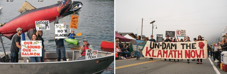 """I cittadini preoccupati protestano contro gli allevamenti di salmoni """"Net- Pen"""". I membri della tribù Yurok e altri cittadini sostengono la rimozione delle dighe sul Klamath River, in California. BEN MOON"""