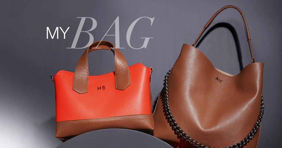 Personalisierbare Lederhandtaschen in Orange und Cognac.