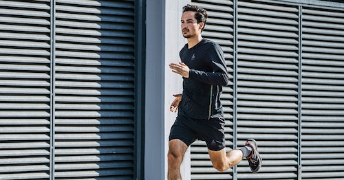 An ODLO staffer takes the new Asphalt Collection out running in the heat. By MARK COHEN.
