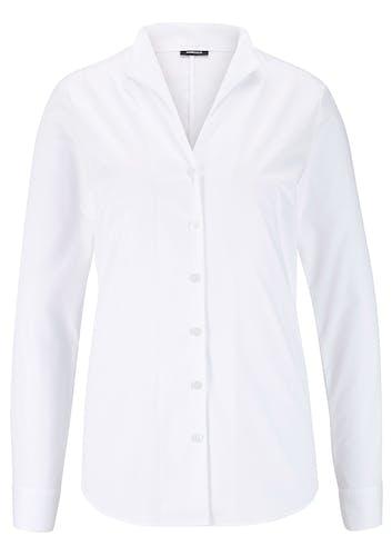 Weiße Bluse mit Knopfleiste und Kelchkragen.