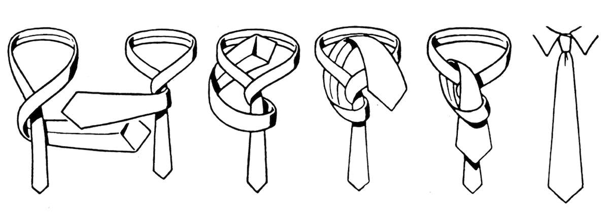 Zeichnung, wie man eine Krawatte mit Four-Hand-Knoten bindet
