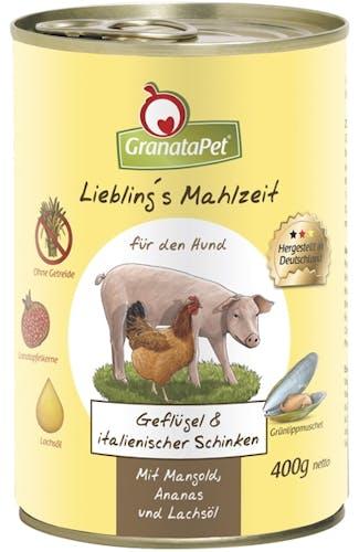 GranataPet - Nassfutter - Liebling's Mahlzeit mit Geflügel & ital. Schinken (getreidefrei)