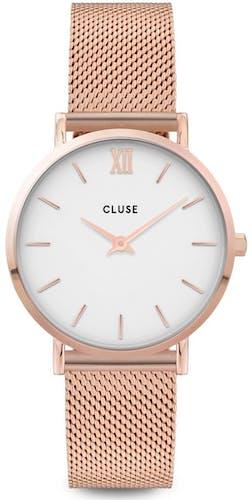 Cette montre CLUSE se compose d'un boîtier Rond de 33 mm et d'un bracelet en Maille milanaise Rose