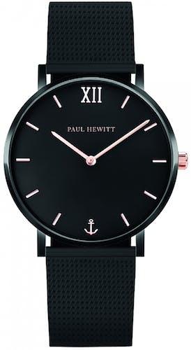 Cette montre PAUL HEWITT se compose d'un Boîtier Rond de 39 mm et d'un bracelet en Acier Noir