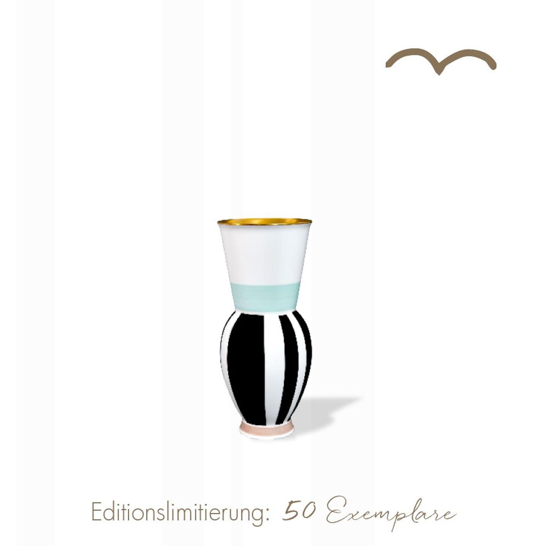 Vase, HALLE 1 im Blockstreifen Dekor, Atelier Edition