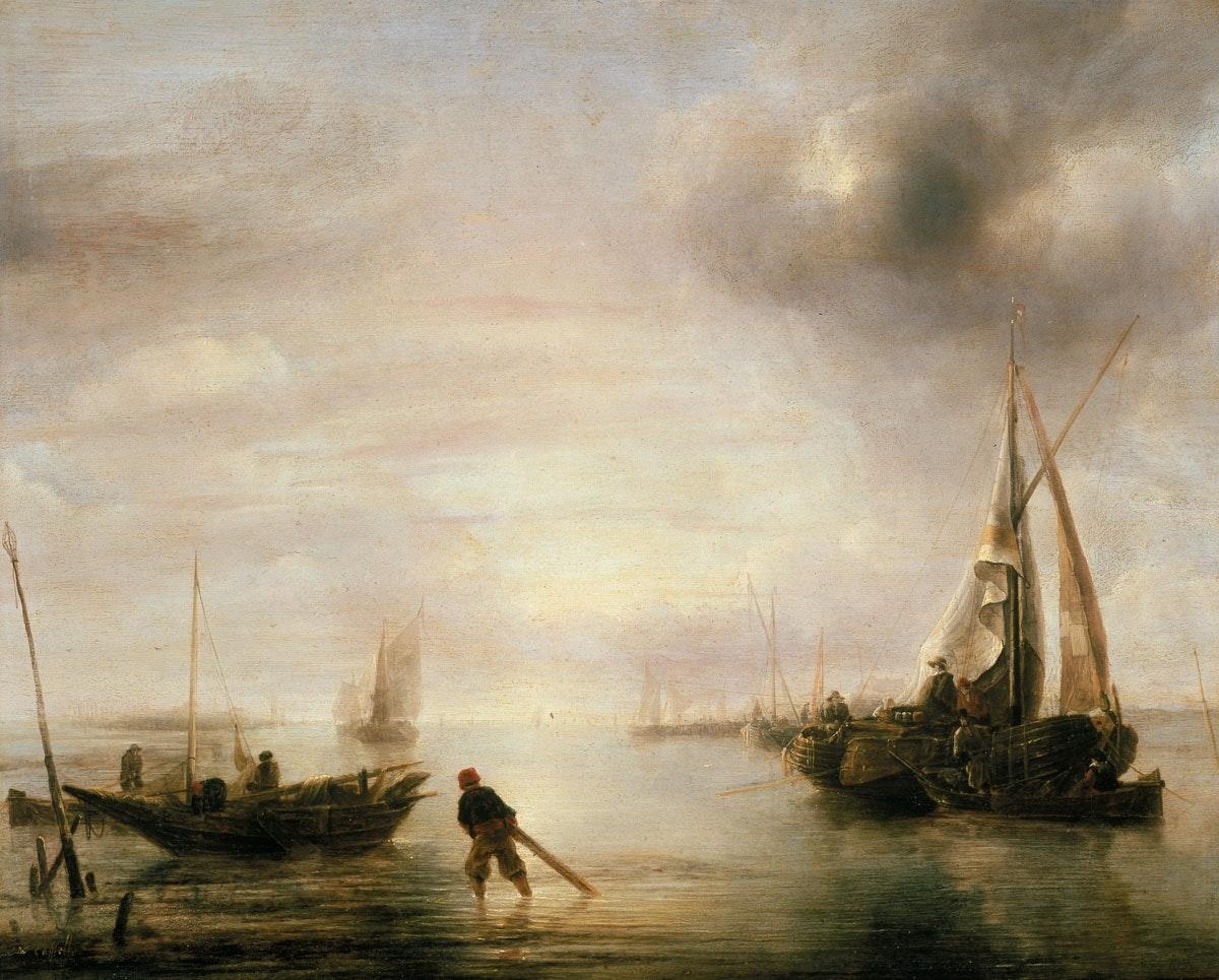 Jan van der Cappelle, Amsterdam 1626 – 1679 Amsterdam, Windstille, 1650er Jahre, Eichenholz, WRM 2535