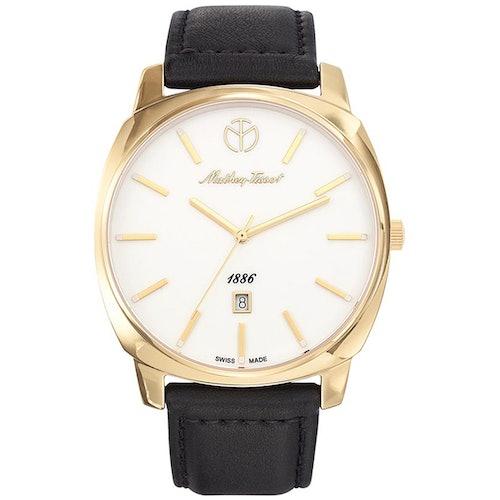 Cette montre MATHEY TISSOT se compose d'un Boîtier Rond de 42 mm et d'un bracelet en Cuir Noir
