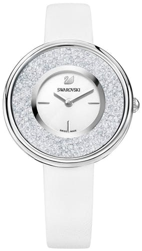 Montre SWAROVSKI Femme avec Boîtier Rond 34 mm et Bracelet Cuir Blanc