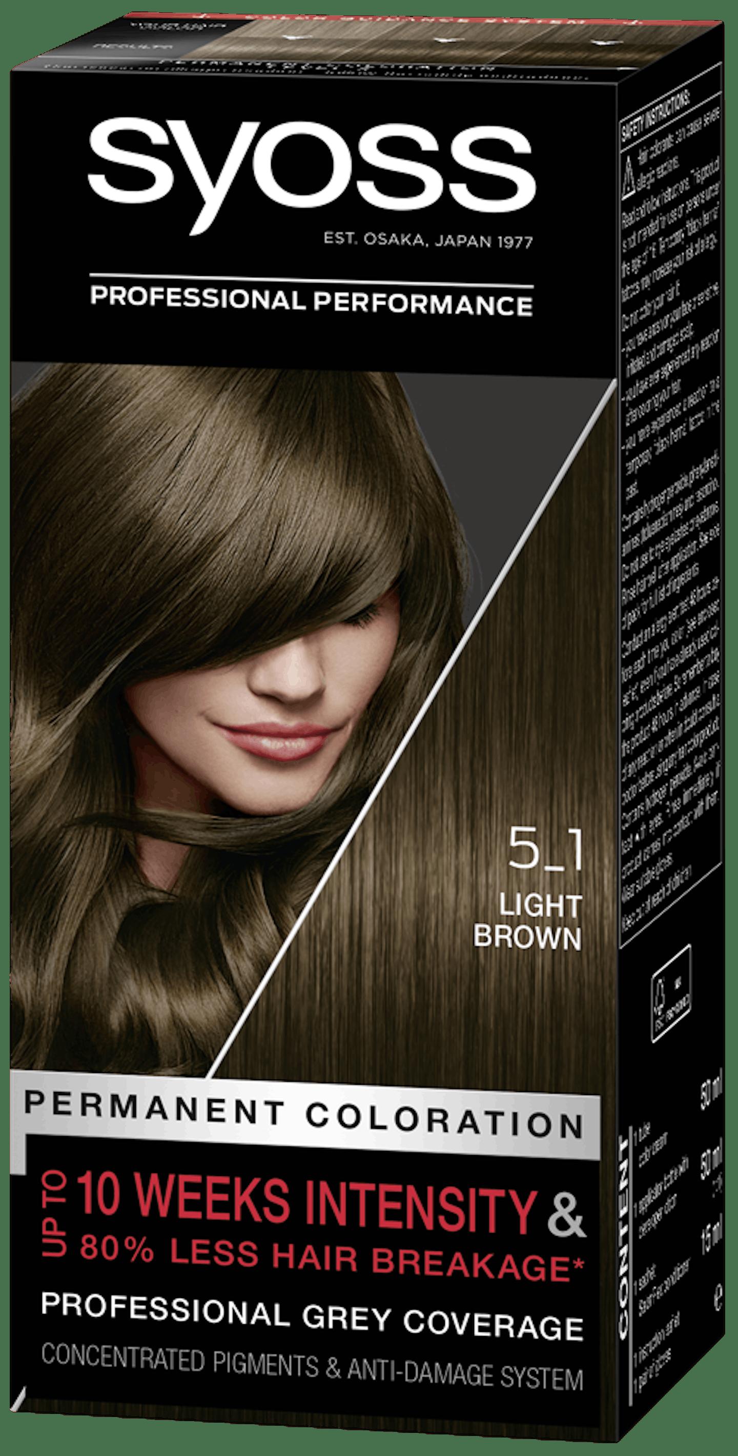 Vopsea de păr permanentă Syoss 5-1 Șaten Deschis