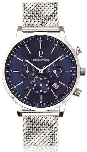 Cette montre PIERRE LANNIER se compose d'un Boîtier Rond de 42 mm et d'un bracelet en Acier Gris
