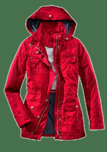 Rote Jacke mit Kapuze und vier großen Taschen.