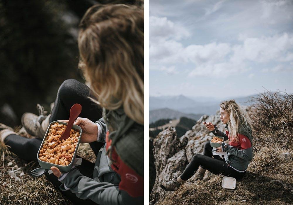 Veganer Nudelsalat bringt Power beim Wandern
