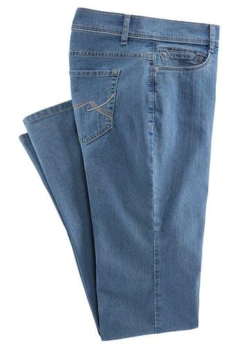 Blaue Jeans mit Gürtelschlaufen und Stickerei an der Gesäßtasche.