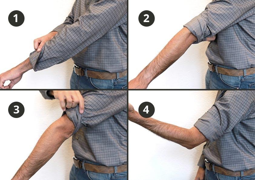 Collage von vier Bildern auf denen ein Hemdenärmel hochgekrempelt wird.