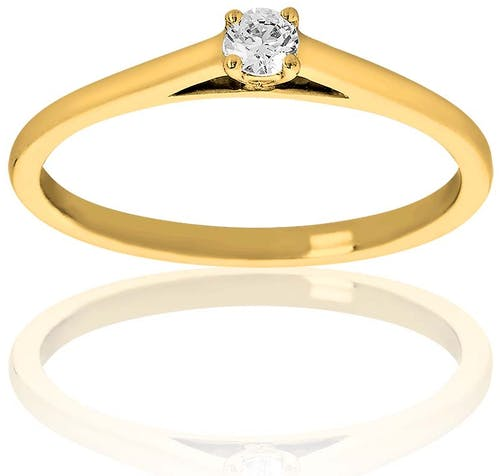 Ce Solitaire PROMESSE est en Or 375/1000 Jaune et Diamant Blanc