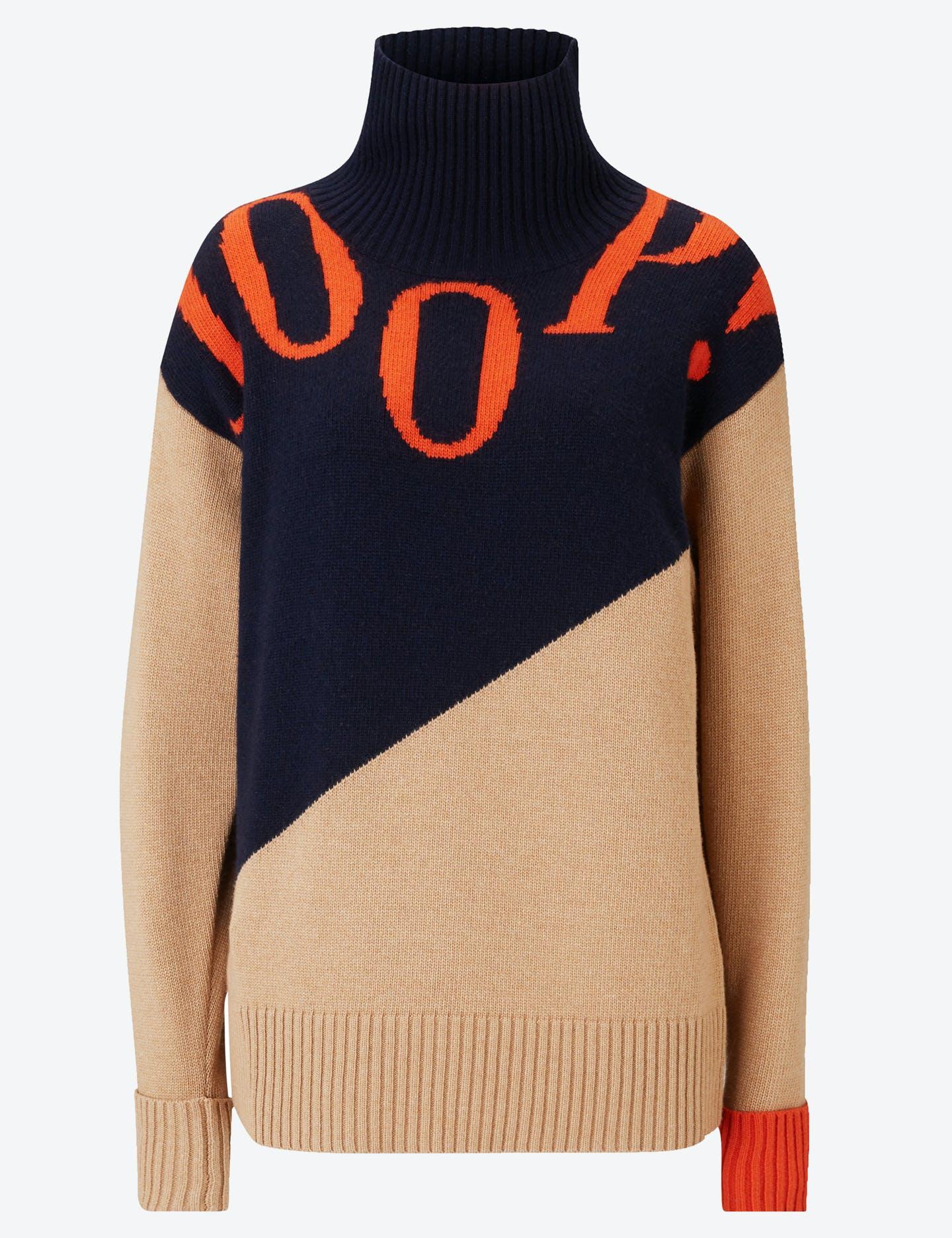 Pullover Kult in Beige/Blau/Orange