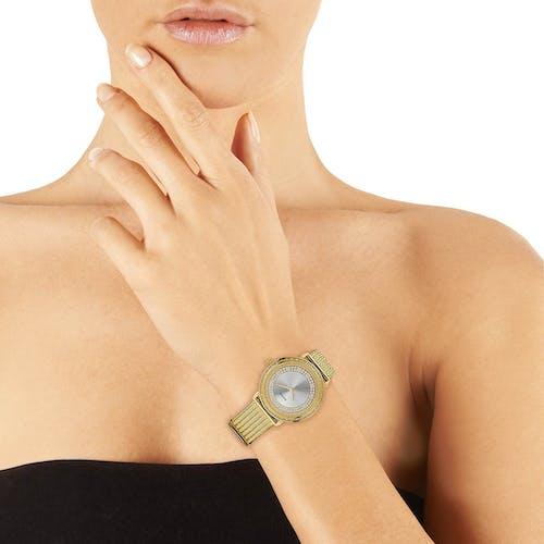 Montre GUESS Femme, Boîtier Rond, Bracelet Acier Jaune