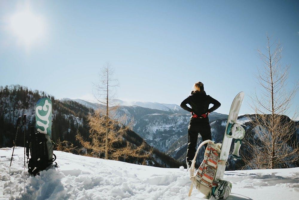 Snowboard-Tourengehen mit toller Aussicht