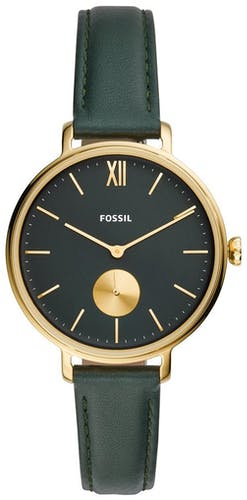 Cette montre FOSSIL se compose d'un boîtier Rond de 36 mm et d'un bracelet en Cuir Vert