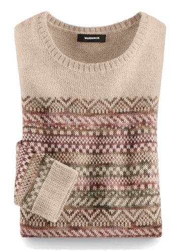 Brauner, gefalteter Pullover mit einem gestreiften Muster aus diversen Formen und Farben.