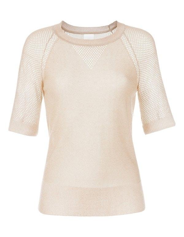 Glänzender Pullover mit kurzen Ärmeln