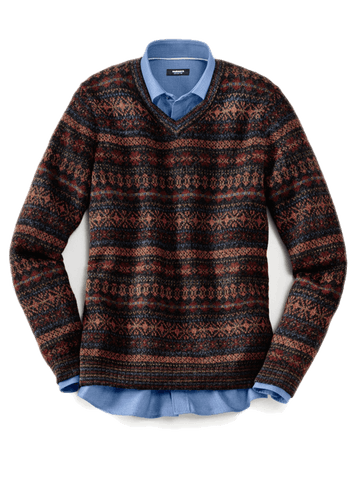 Dunkelroter Pullover mit orangenem und grünem Muster. Darunter schaut ein blaues Hemd hervor.