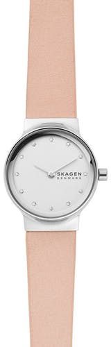 Cette montre SKAGEN se compose d'un boîtier Rond de 26 mm et d'un bracelet en Cuir Rose  -