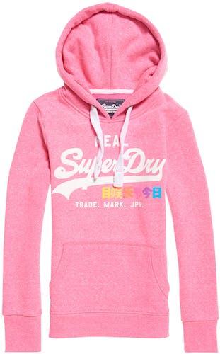 Pinker Hoodie von Superdry mit großem Logo auf der Brust