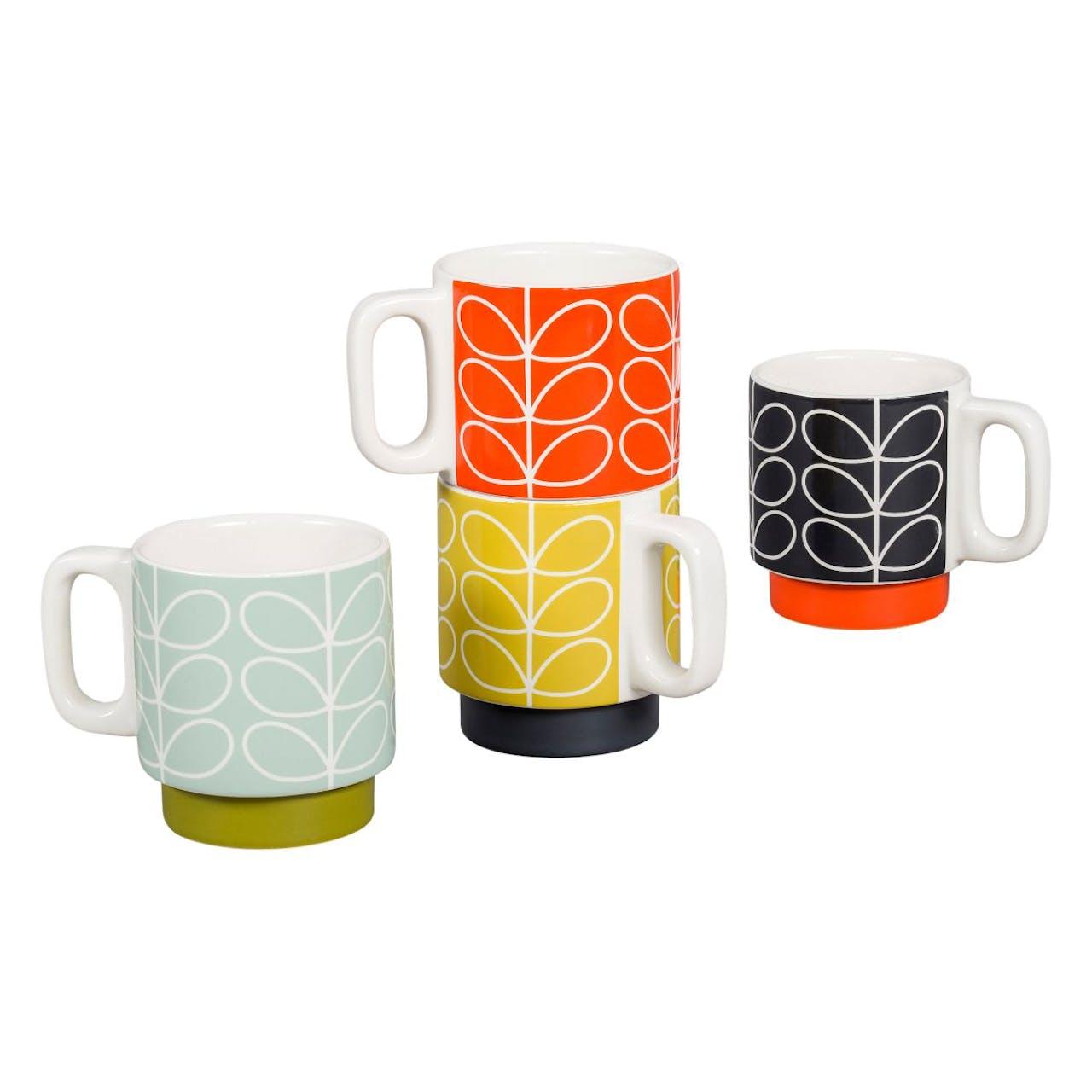 Orla Kiely Linear Stem Set of 4 Espresso Mugs Size