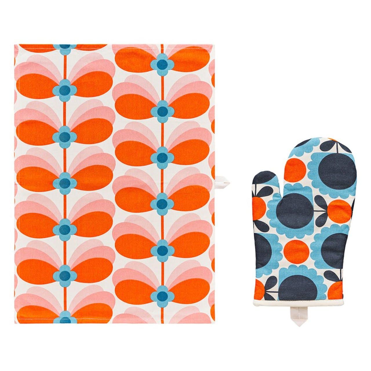 Orla Kiely Butterfly Stem Tea Towel and Oven Mitt Set