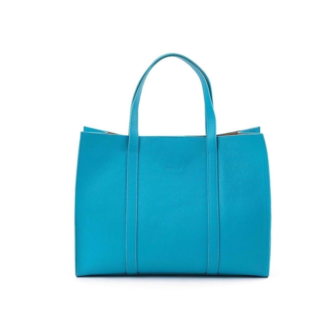 Peelo Leather Aqua Tote Bag