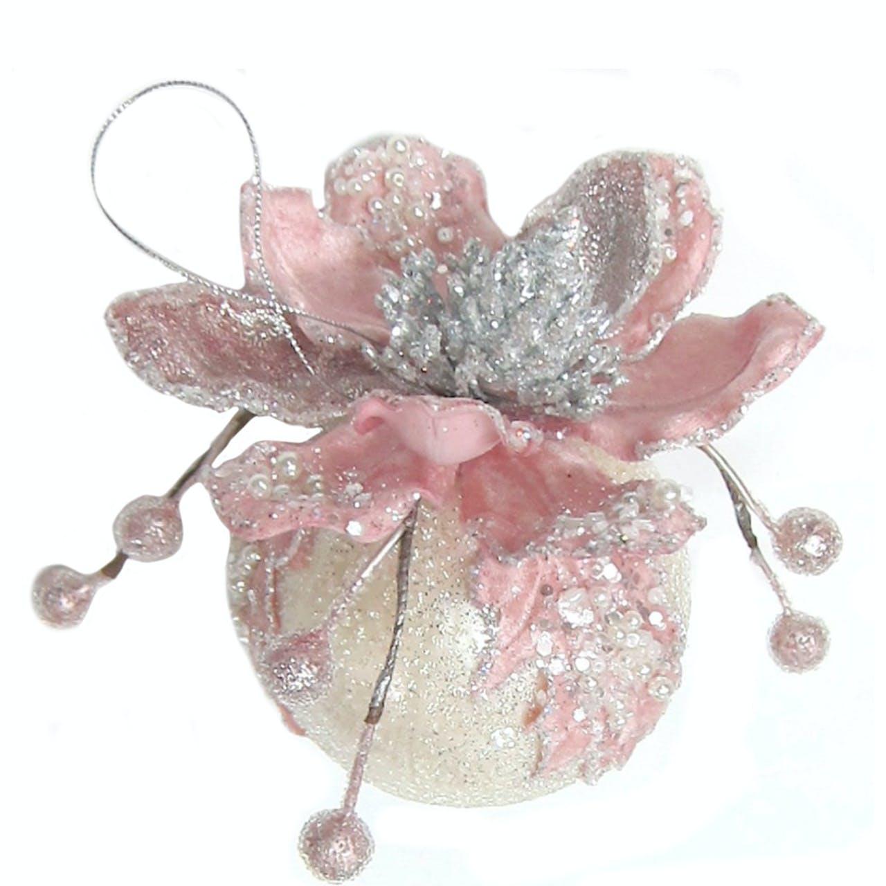 Ornate Soft Pink Magnolia Ball Decoration