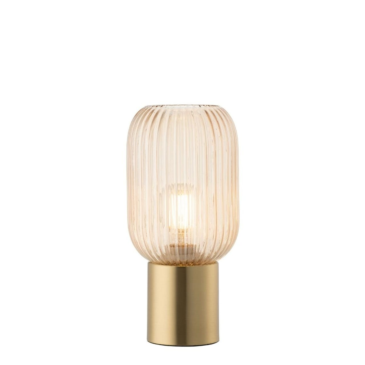 Galway Crystal , Fluted glass table lamp Amber