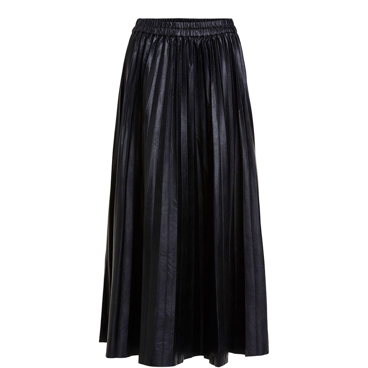Oui Pleated PLeather Skirt Black