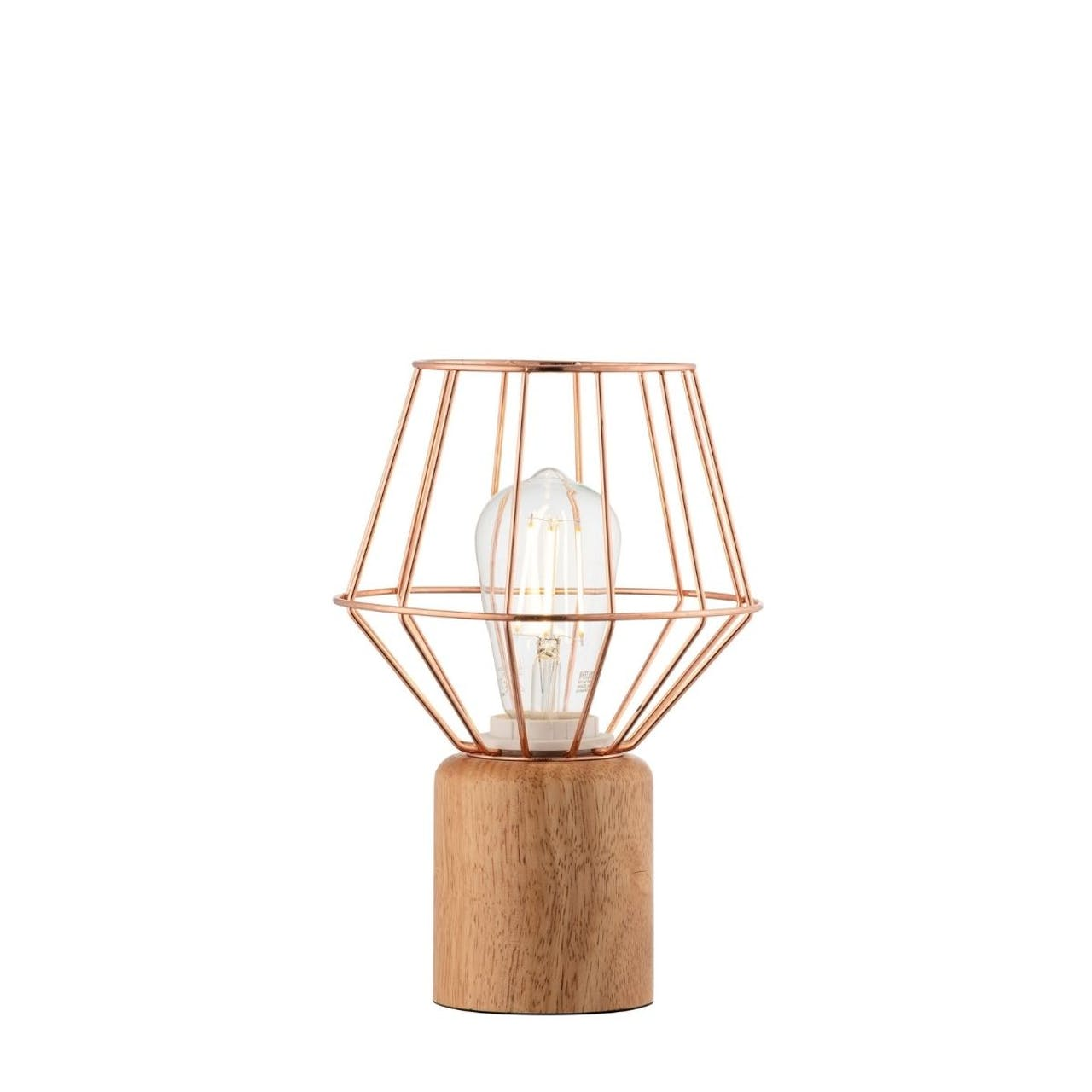 Galway Crystal Wood & Copper Table Lamp
