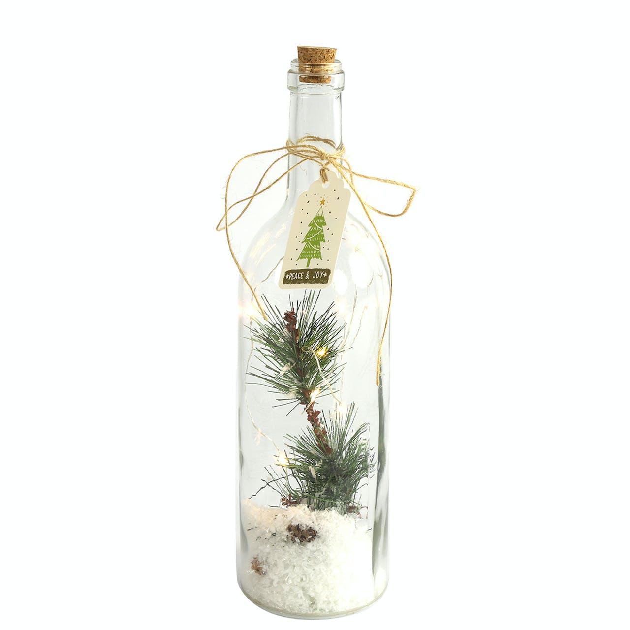 LED Medium Glass Bottle with Greenery