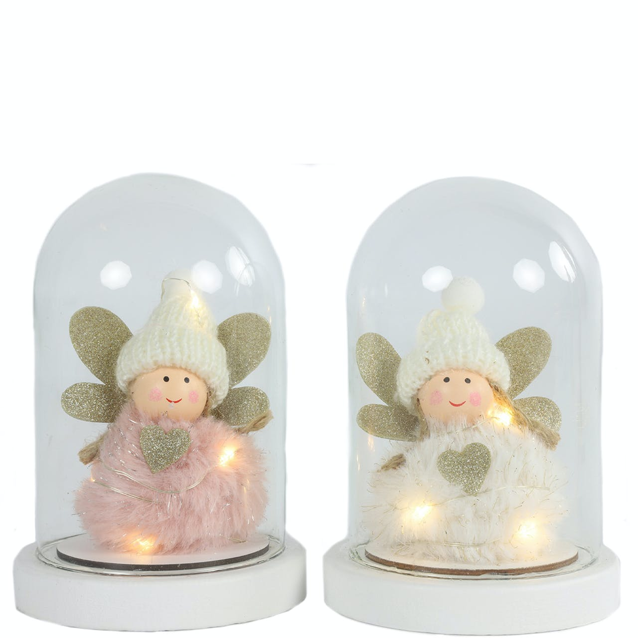 LED Glass Bell Angel Set