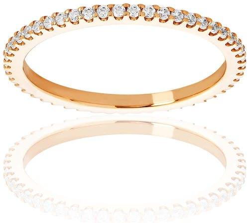 Cette Alliance PROMESSE est en Or 750/1000 Rose et Diamant Blanc