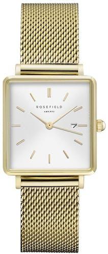 Cette montre ROSEFIELD se compose d'un boîtier Carré de 26x28mm et d'un bracelet en Acier Jaune